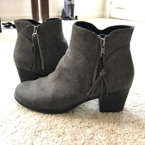 Gray Aerosole Ankle Boots with Block Heel